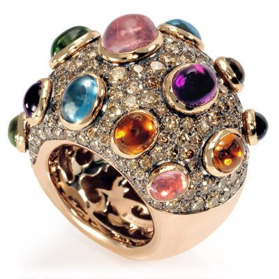 Image detail for -de GRISOGONO Ring with Multi-Color Gemstones and Brown Diamonds: This ...