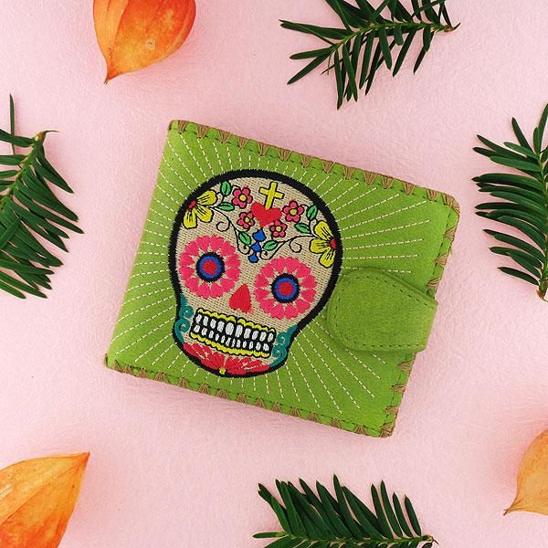 87c7b5b84564 97-267: Embroidered medium wallet-sugar skull in 2019 | Day of the ...