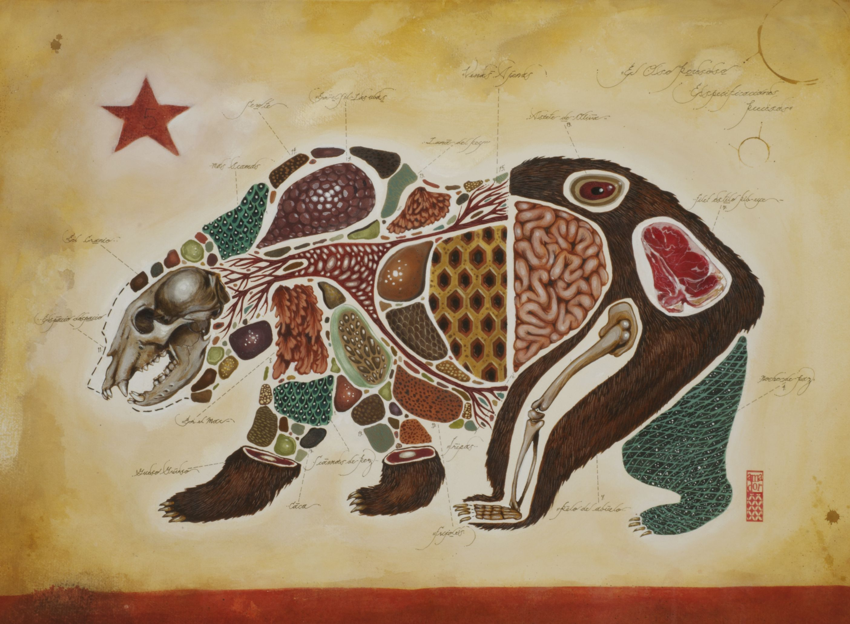 California Bear-ial. Mixed Media on Paper. 22'' x 30''. 2012.