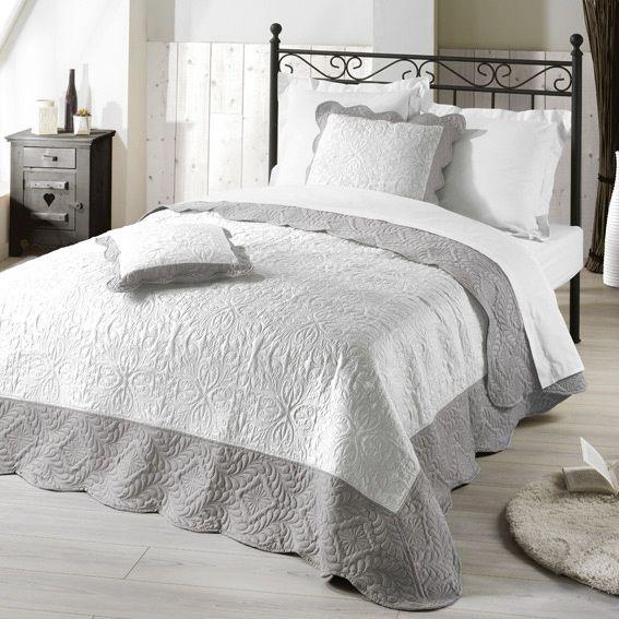 couvre lit 220 x 240 cm matelass emma gris la campagne pinterest lit couvre lit et couvre. Black Bedroom Furniture Sets. Home Design Ideas