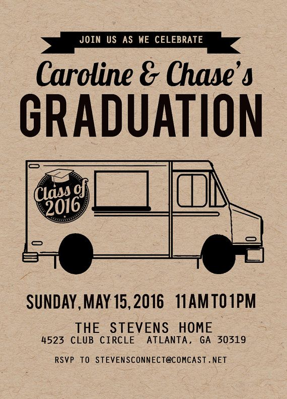 Graduation Invitation Graduation Food Truck Invitation Etsy Graduation Invitations Graduation Food Grad Party Invitations
