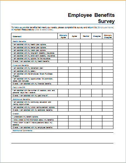 Employee Benefits Survey Form Download At HttpWwwDoxhubOrg