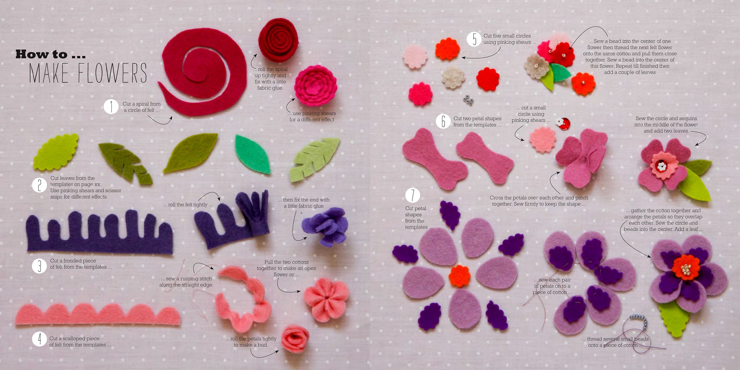 HOW TO MAKE FELT FLOWERS super cute able PDF guide to