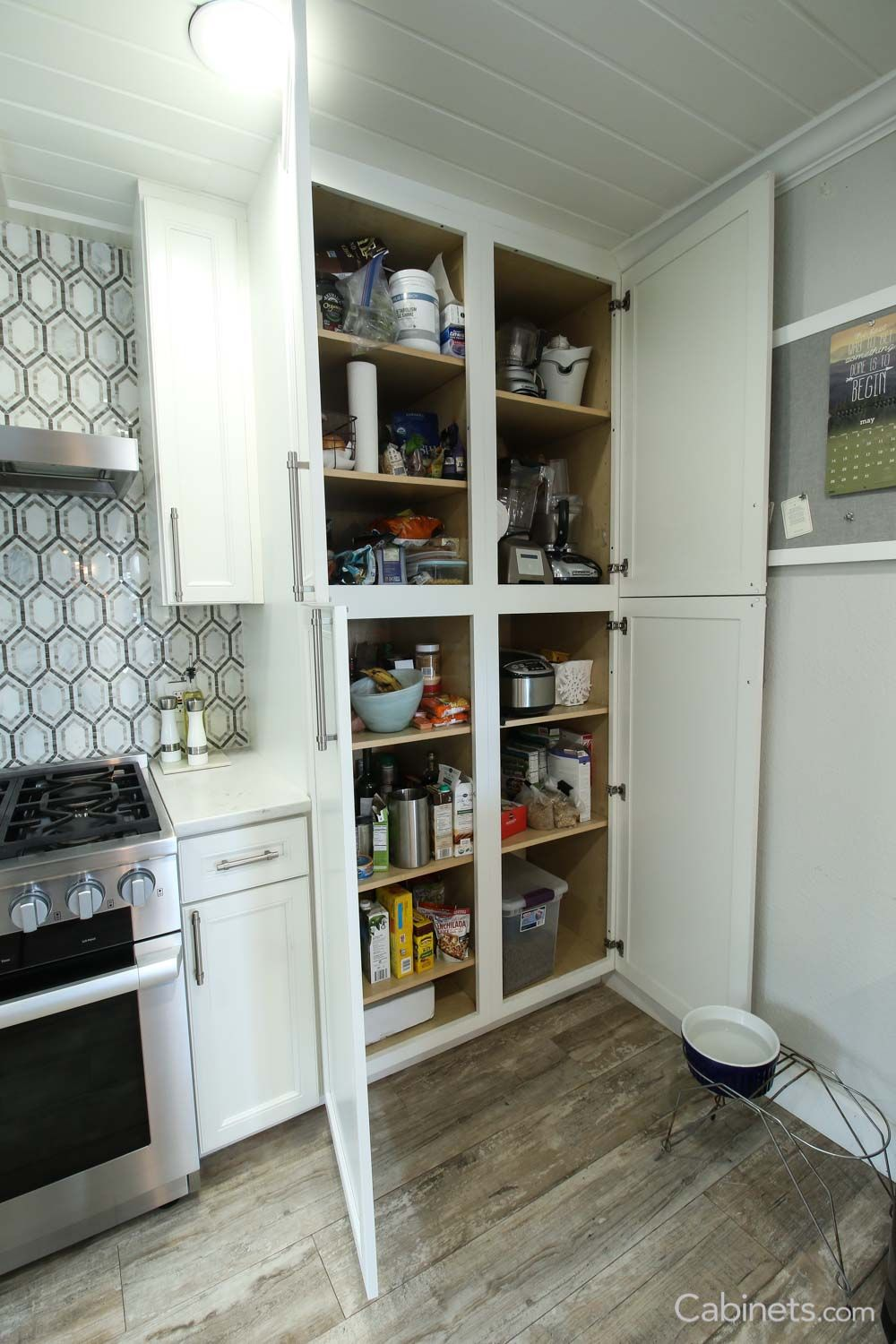Pantry featuring our Belleair Maple Bright White Cabinets ...