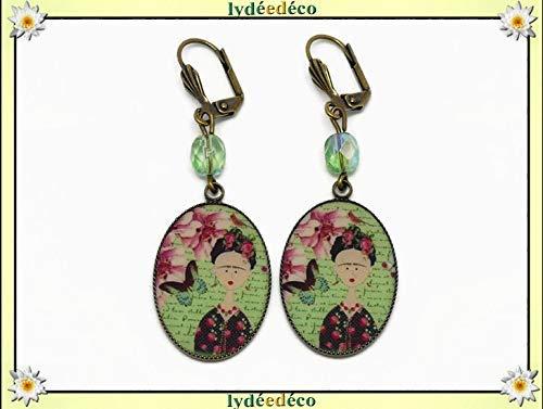 autorizzazione in vendita comprare bene Earrings resin Frida Kahlo butterfly bird flower green pink ...