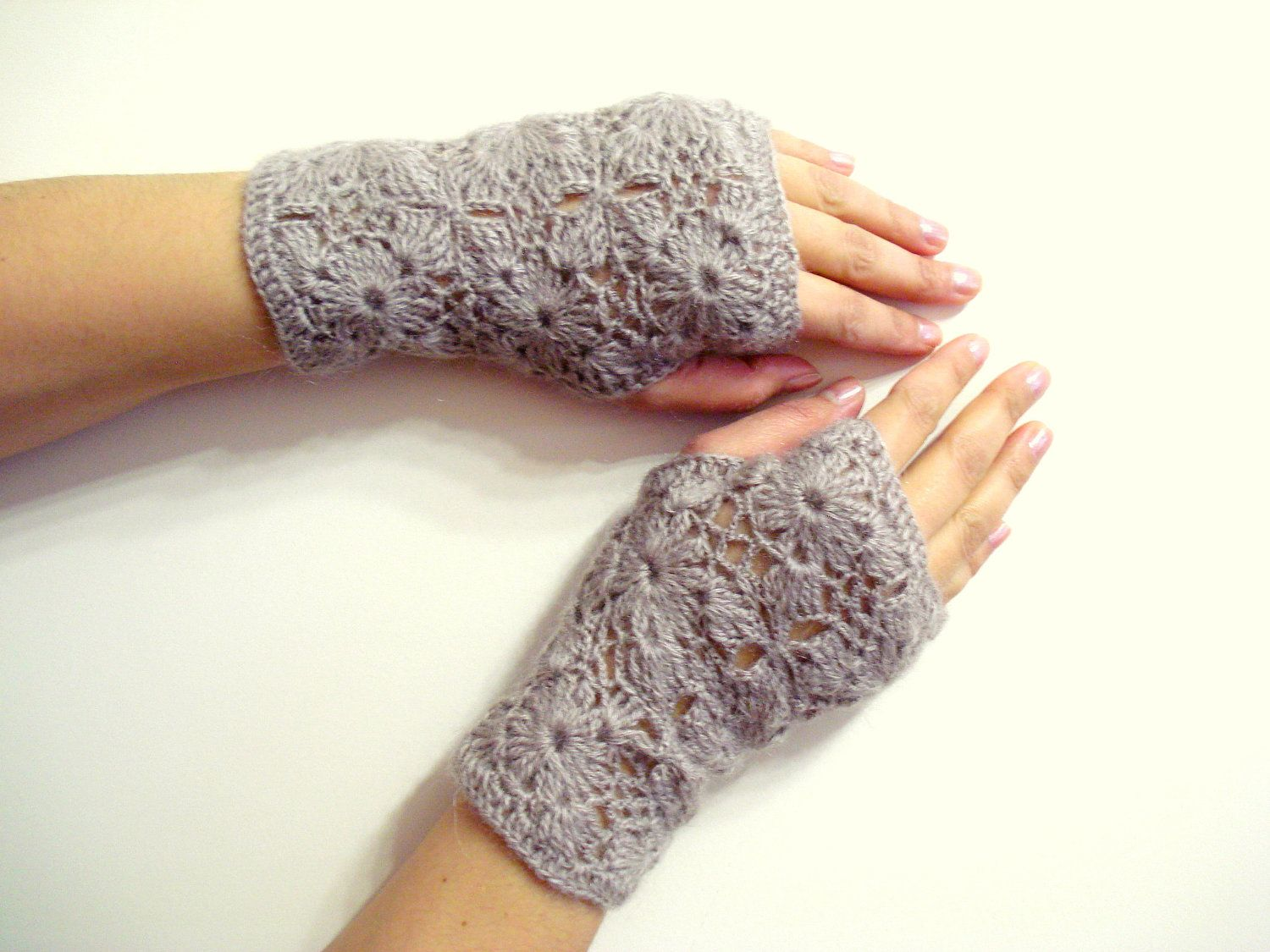 Crochet Fingerless Gloves, SALE 10% OFF Mink Lace, Adult fingerless ...