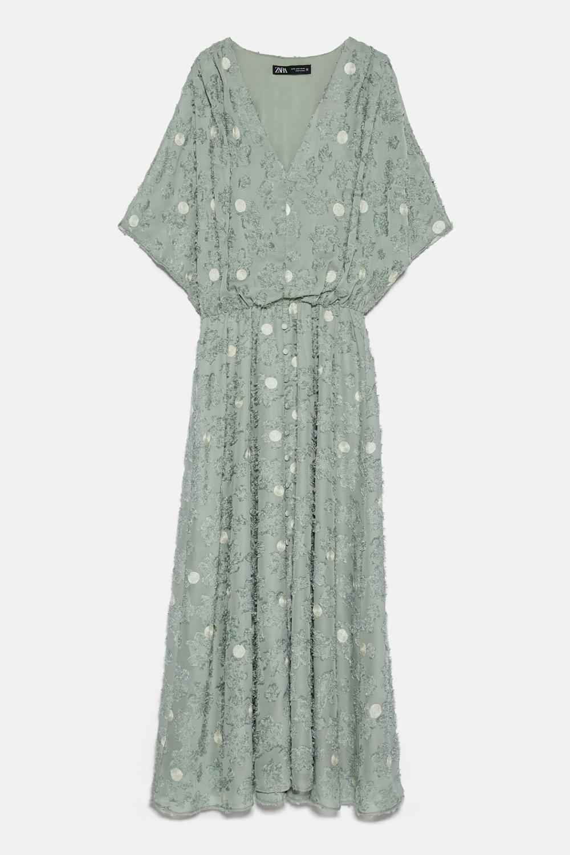 Zara Combined Structured Midi Dress In Green Kontrast Midikleider Kleider Hochzeit [ 1500 x 1000 Pixel ]