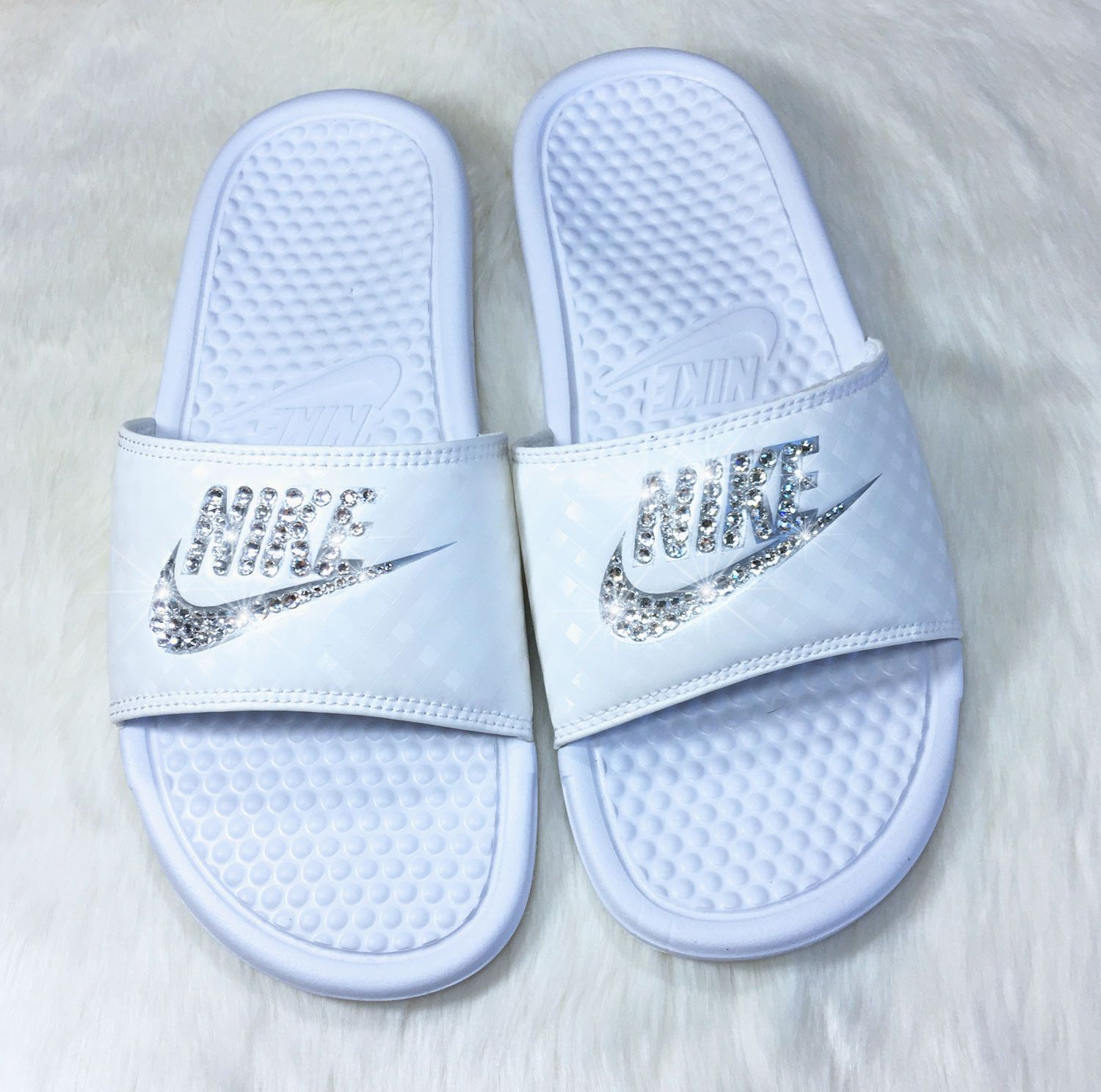 e5274d2cb6aa49 Slide into Summer with these Sparkling Nike Slide Sandals! Custom hand  jeweled with genuine Swarovski Crystals