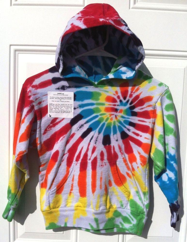 Childrens fleece dharma tie dye hoodie rainbow spiral