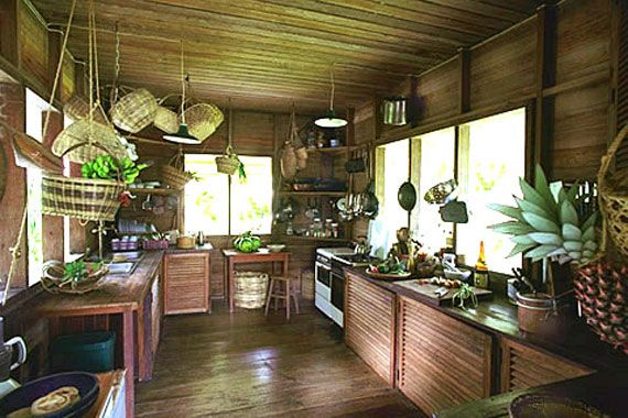 Tropical Kitchen With Natural Wood Bamboo And Rattan Decor