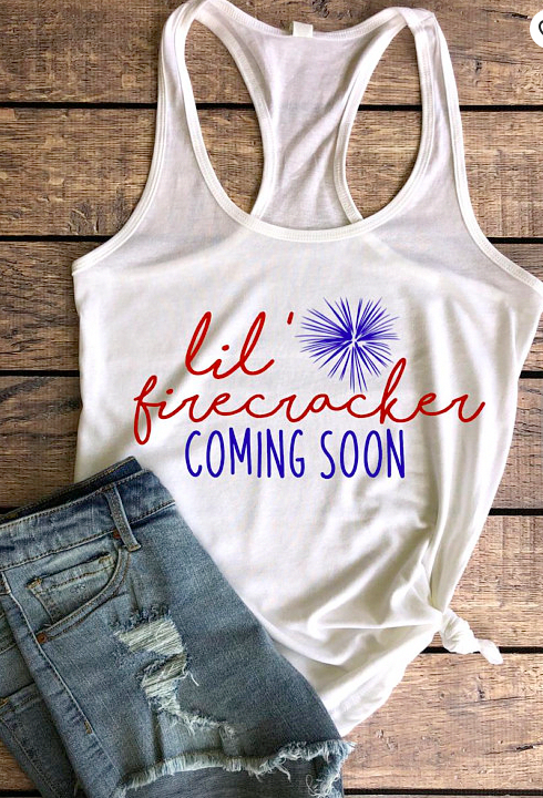 bc565e7b65eb1 Lil Firecracker Coming Soon pregnancy announcement maternity tank top!  Perfect way to announce your pregnancy with this Fourth of July maternity  tank! ...