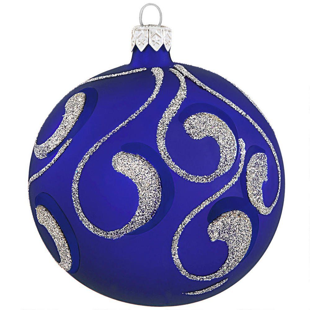 Royal Blue Christmas Ornaments Part - 36: Royal Blue With Silver Glitter Glass Ornament - Poland-Made - European-Made  - Christmas Ornaments - Bronneru0027s CHRISTmas Wonderland