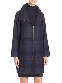 Akris - Gentleman Wool Plaid Reversible Parka