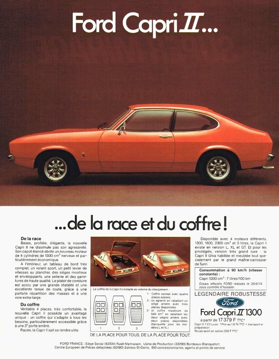 Publicite Advertising 104 1974 Ford Capri 1300 Ii De La Race Du Coffre Eur 3 00 En 2020 Publicite Ford Capri Ford