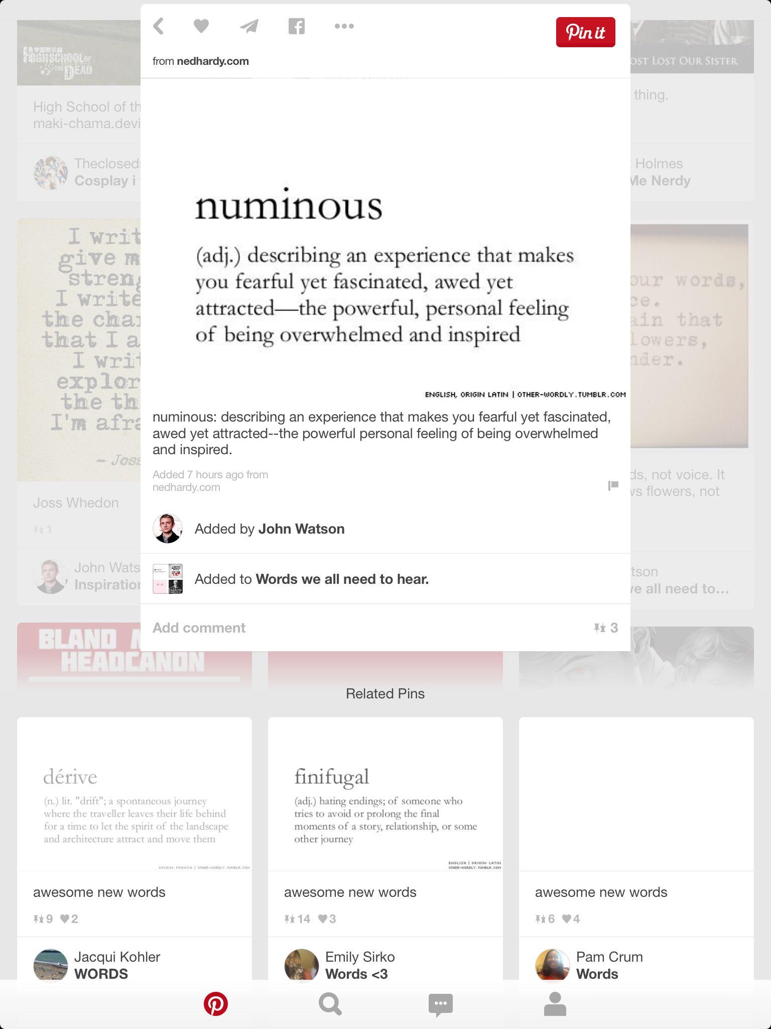 Numinous words feelings writing