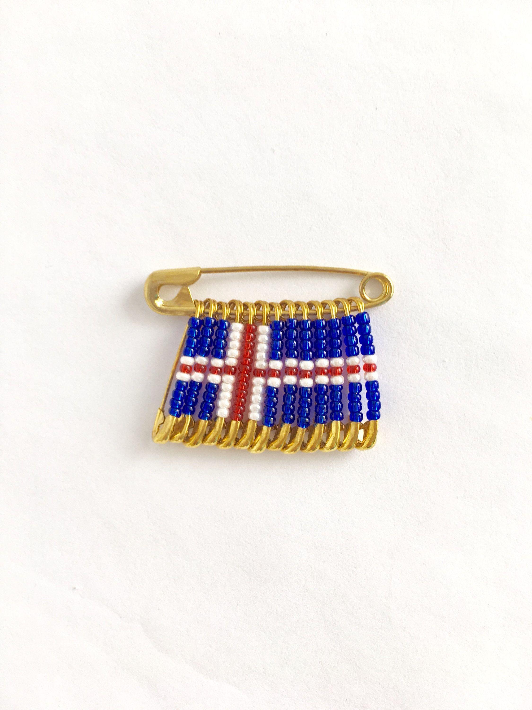 Iceland Beaded National Flag Pin handmade gift for him gift
