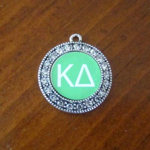 new-KAPPA-DELTA-CRYSTAL-PEWTER-Greek-letter-CHARM-Sorority-bead-bracelet-jewelry