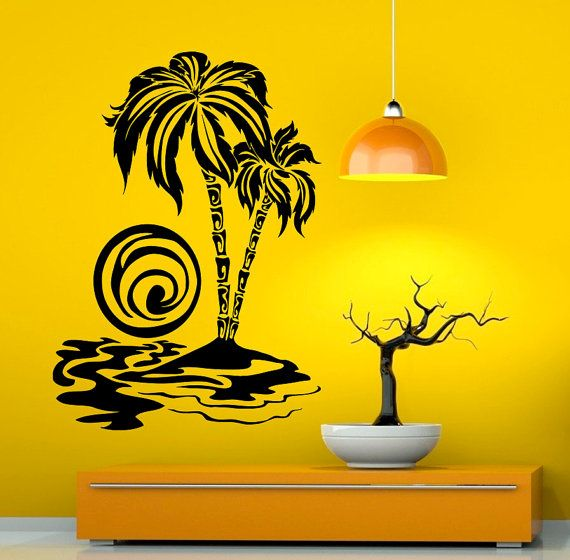 Palm Tree Wall Decal Vinyl Stickers Nature Beach by Rossstickers ...