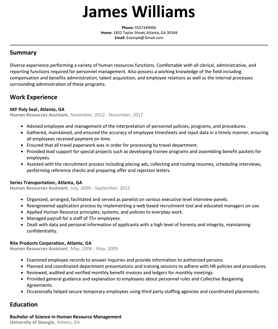 Human Resources Assistant Resume Example Human Resources Employee Relations Self Branding