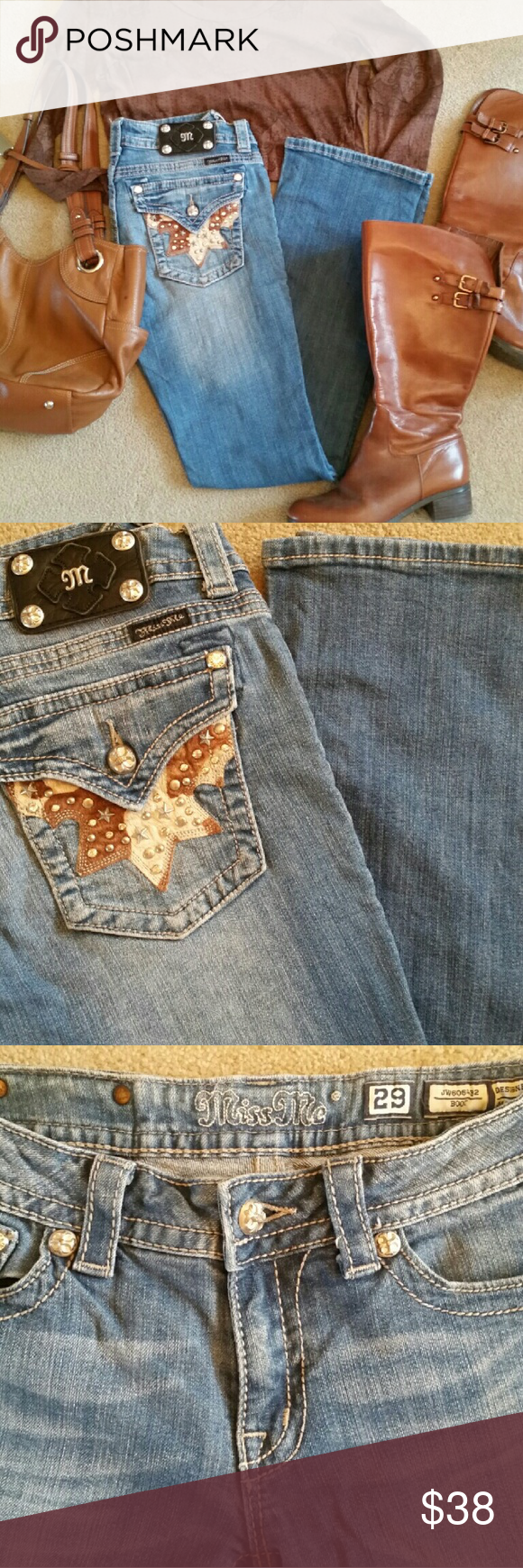 Miss Me Boot cut Jeans 29 x 33 Very cute comfy flap pocket Miss Me  Jeans Boot Cut