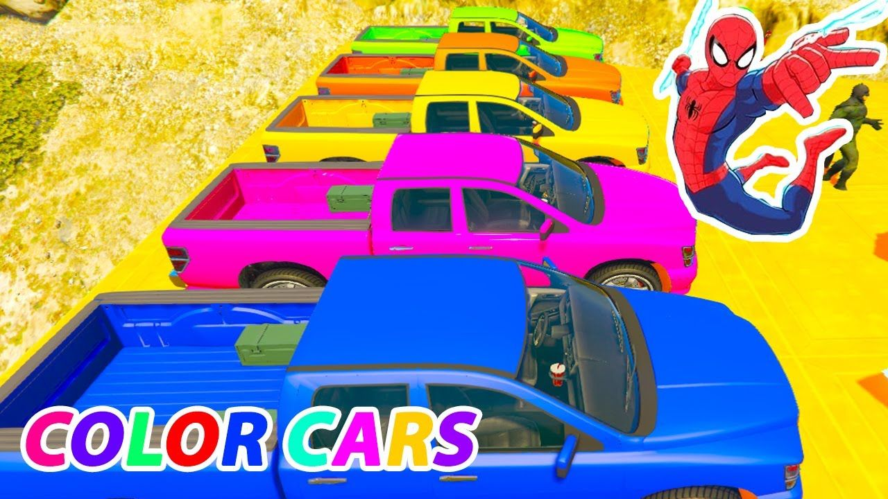 Learn Colors With Cars On Truck In Superheroes Cartoon Spiderman For Chi Spiderman Coloring Spiderman Cartoon Spiderman