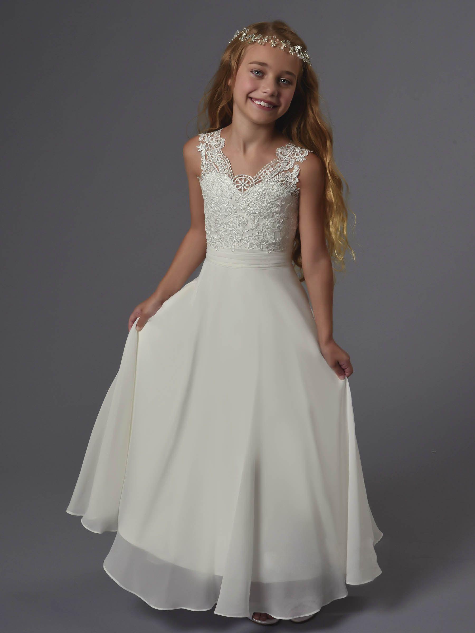 Boho beach lace chiffon floor length wedding flower girl