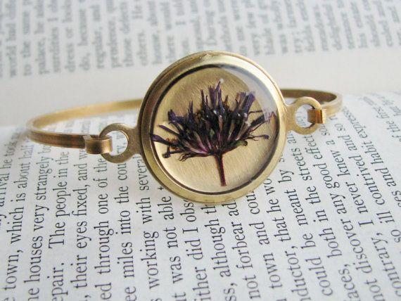 Real Aster Bracelet Purple Pressed Flowers Bridal Jewelry Etsy Bracelets Purple Brass Bracelet