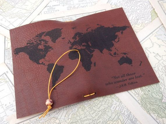 Leather journal cover travel journal leather passport cover map leather journal cover travel journal leather passport cover map journal world map gumiabroncs Choice Image