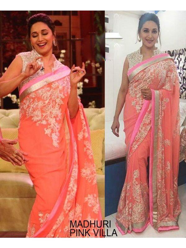 513e8496c06152 Madhuri Dixit Peach Georgette Net Designer Saree with Off White Color Raw  Silk Blouse.It contained the work of Zari, resham embroidery with Lace  border.