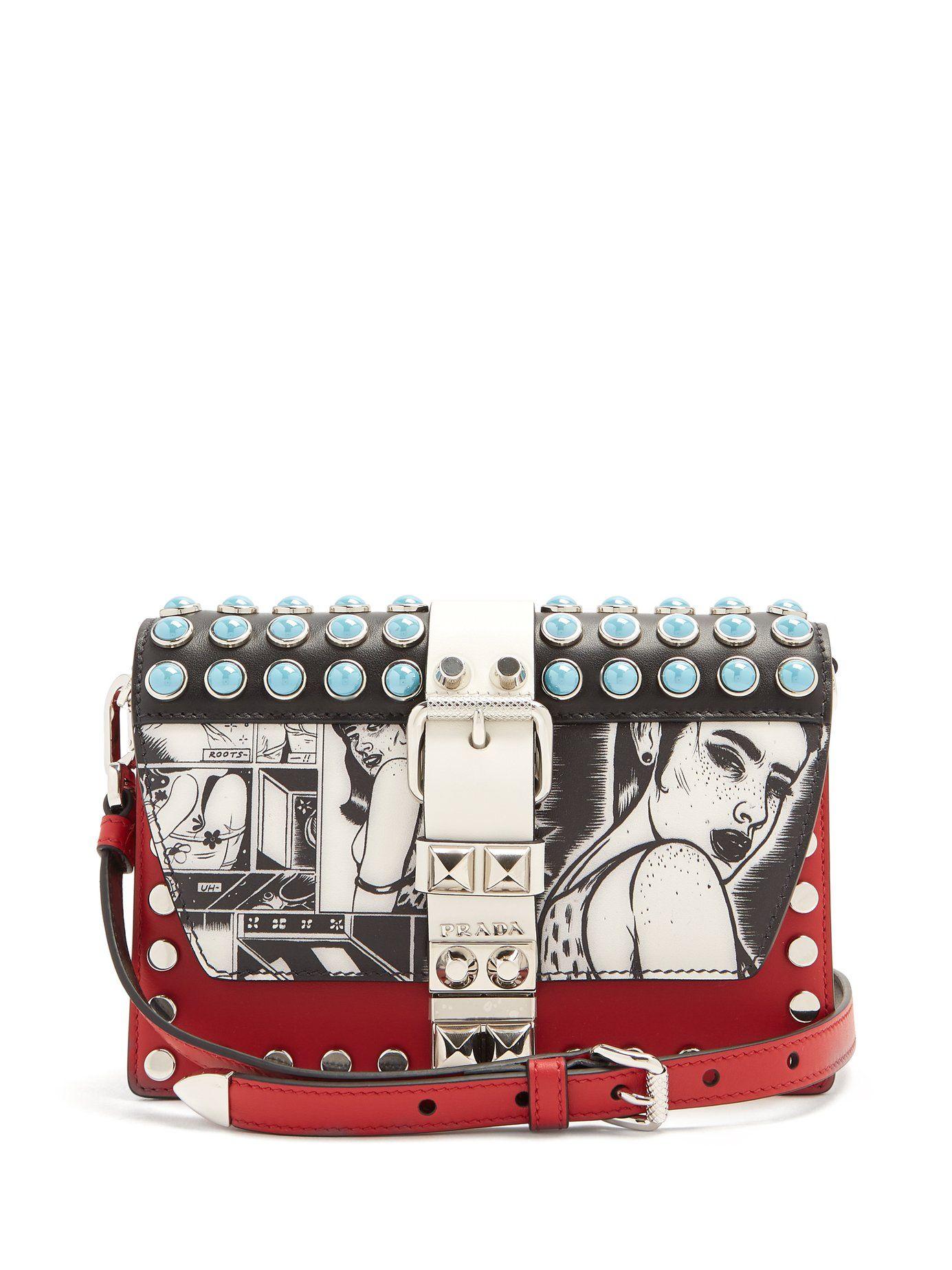 779e2c178048ae Comic-print stud-embellished leather bag | Prada | MATCHESFASHION.COM