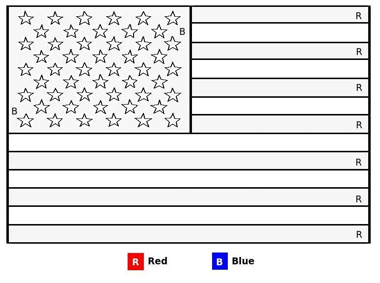 Easy 4th Of July American Flag Color By Letter Coloring Page For Kids Flag Coloring Pages In 2021 Flag Coloring Pages American Flag Coloring Page American Flag Colors