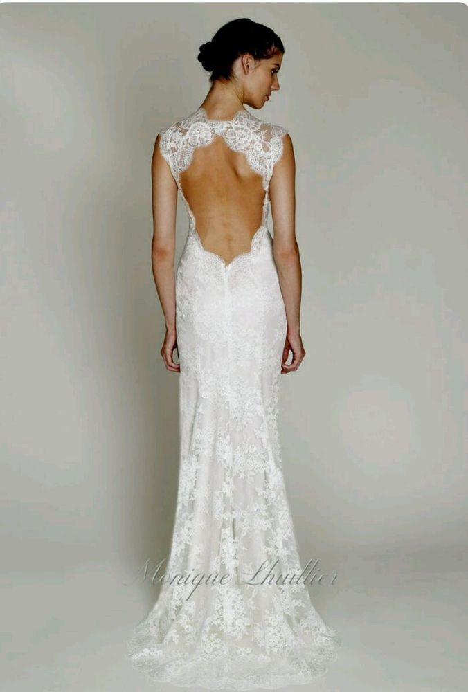 New Monique Lhuillier Ivory Lace Wedding Dress Bl1210 3ft Of Train Added Size 4 Open Back Wedding Dress Wedding Gowns Back Wedding Dress