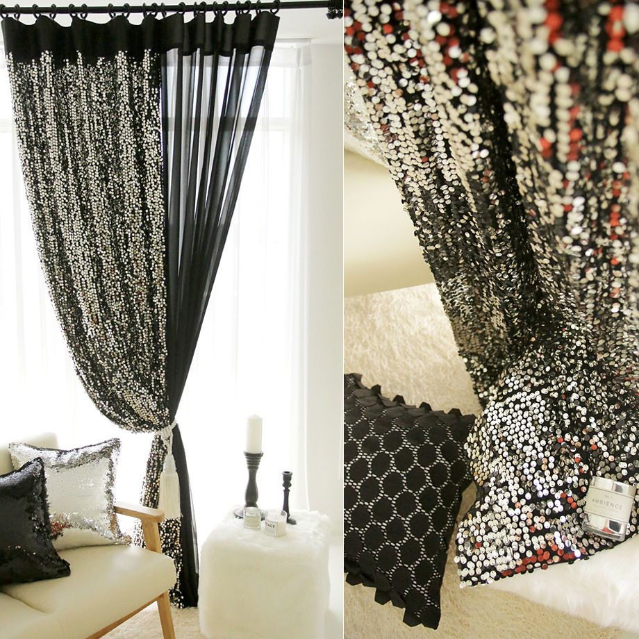 Handmade Decorative Shiny Silver Sequins Curtain Metallic Panel Single Modern