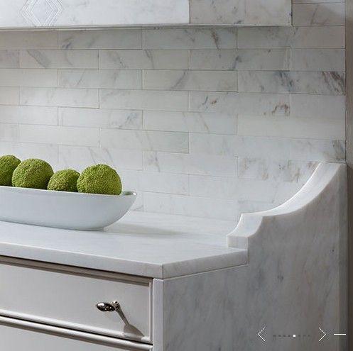 Tile Backsplash Edge Detail Kitchen Marble Marble Tile