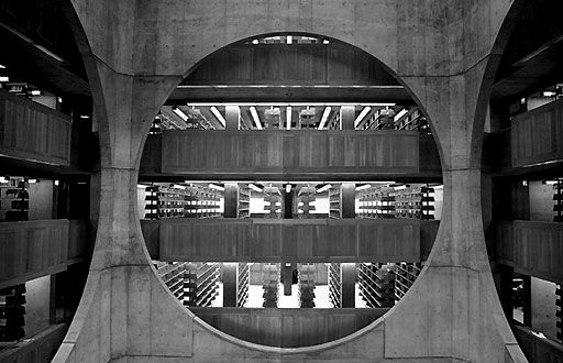 interior detail of the Phillips Exeter Academy Library in Exeter, New Hampshire by Louis I. Kahn (1972)
