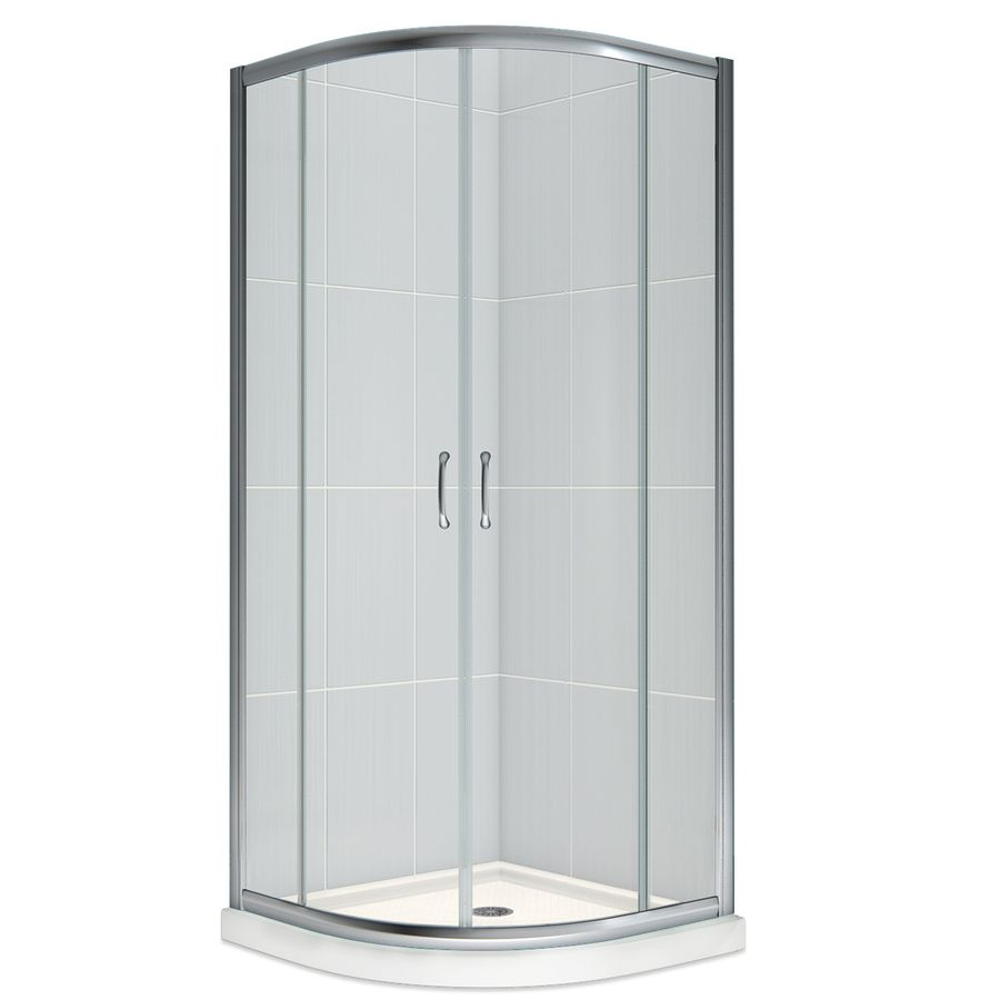 Dreamline Prime White Acrylic Wall And Floor Round 3 Piece Corner Shower Kit Actual 76 75 In X 33 In X 33 In Corner Shower Kits Corner Shower Shower Kits