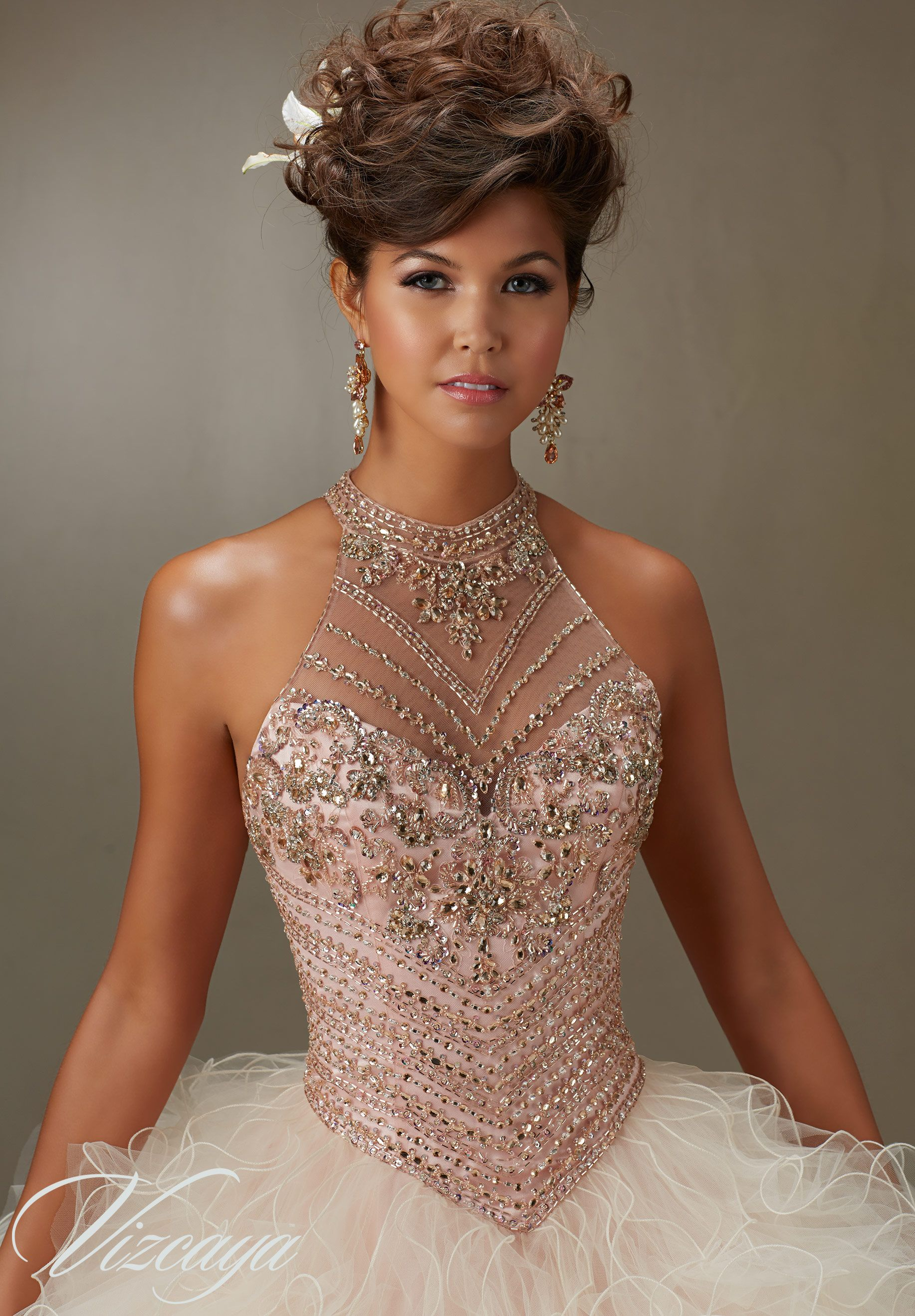 Jeweled Beading on a Ruffled Tulle Quinceañera Dress in 2019 ... cc39e25d6699