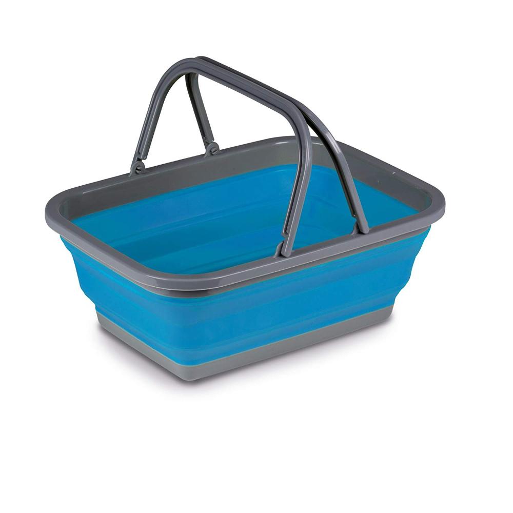 #11 Leichter Faltbarer Korb in blau mit Henkeln aus umweltvertr/äglichem TPR Sch/üssel Waschsch/üssel Sp/ülsch/üssel Einkaufskorb Camping St/öpsel faltbar