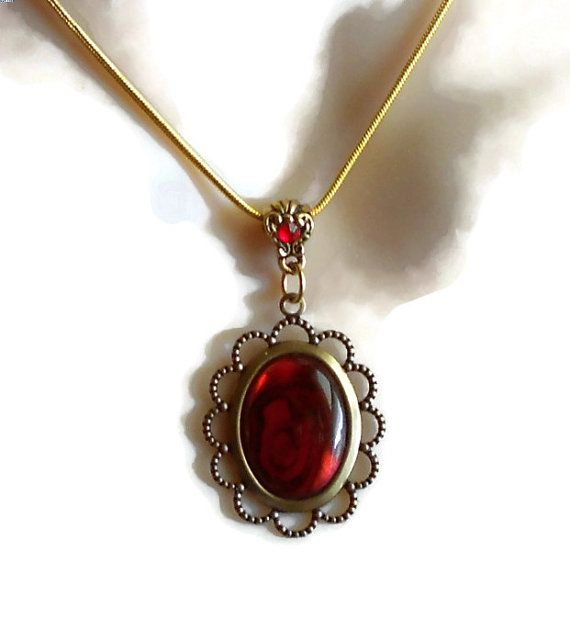 Deep Red Dyed Abalone Cabochon Pendant with crystal by PurePoetry, $10.00