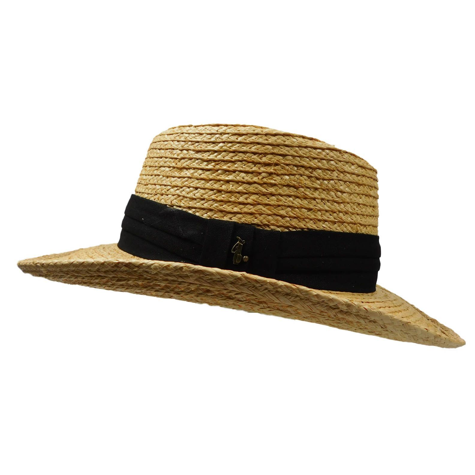 4203a14a37e Natural straw color gambler style hat. Black 3-pleat band with golf  ornament. 8 10 mm raffia braid. 3