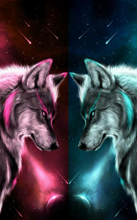 Pink & Aqua Wolves   Wolf background, Cute animal drawings ...