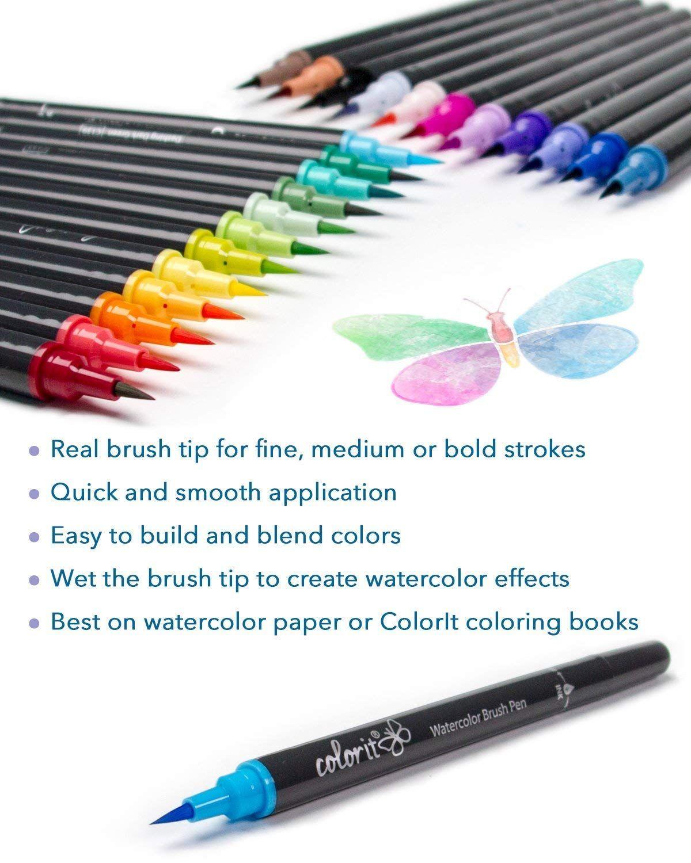 Colorit Refillable Watercolor Brush Pens Set 24 Colors With
