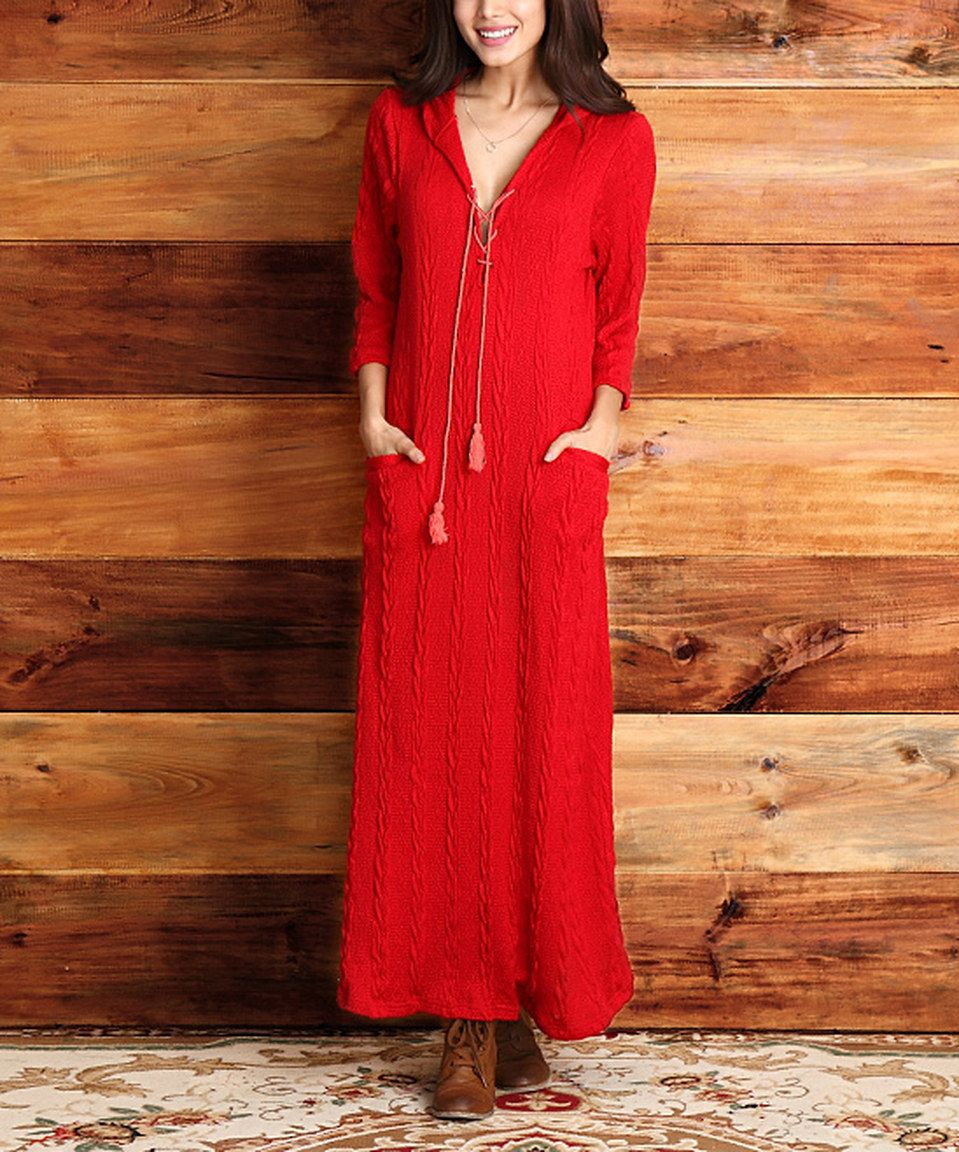 Red cableknit hooded maxi dress by reborn collection zulily
