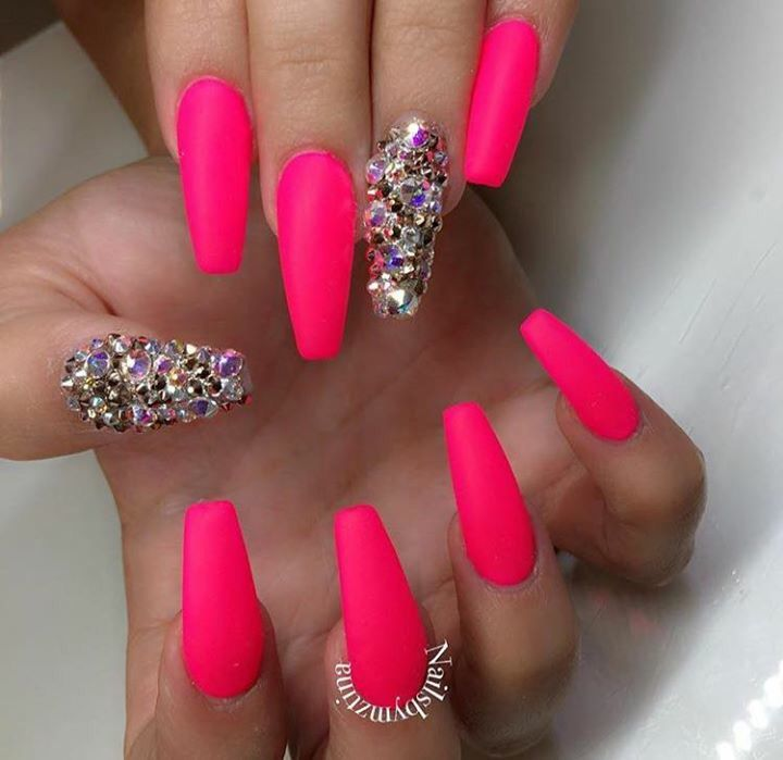 Crystal Coffin Nails Pink Acrylic Nails Pink Nails Bright Pink Nails