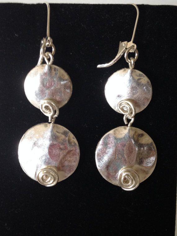 Sterling Silver Disc Spiral Drop Earrings. Handcrafted Artisan Jewelry. SRAJD