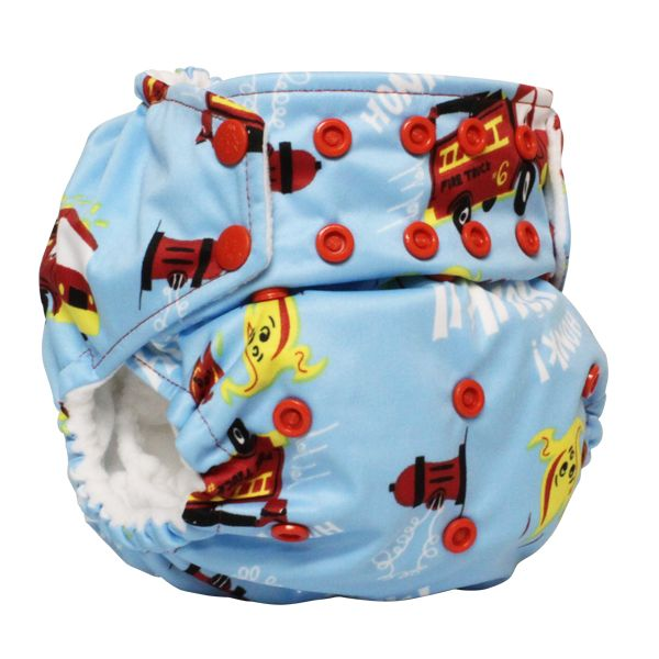 "Rumparooz G2 One Size Diapers with 6-r Soaker- Snap ""Ladder 6"". Toddler LOVES firetrucks right now."