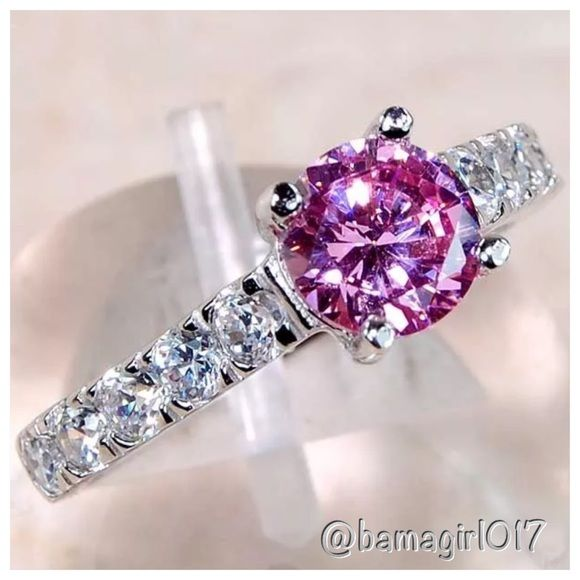 2 CT PINK SAPPHIRE & WHITE TOPAZ SS 925 RING 2 CARATS PINK SAPPHIRE, WHITE TOPAZ, GENUINE 925 SOLID STERLING SILVER RING SIZE 7. ITEM IS STAMPED 925. ️️TradeLow-balling Jewelry Rings