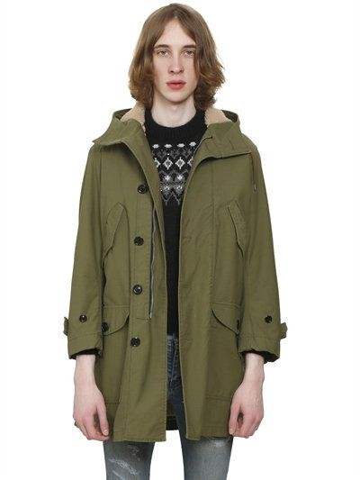 10e39b0fb1df SAINT LAURENT Faux Fur Lined Cotton Canvas Parka