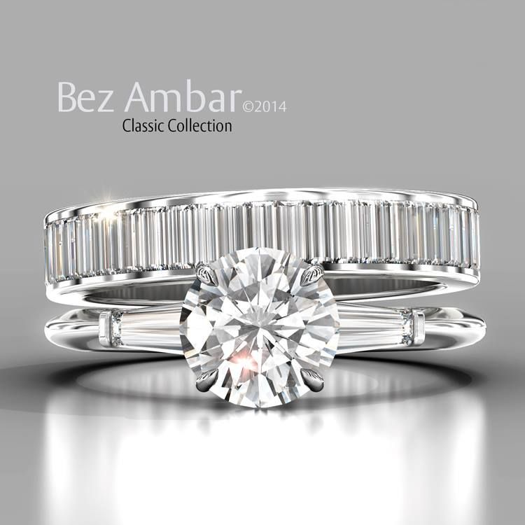 A classic Bez Ambar engagement ring with tapered baguettes with a