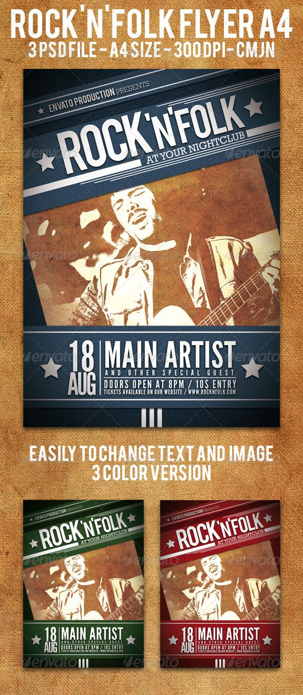 Rock And Folk Flyer A  Flyer Template Folk And Concert Flyer